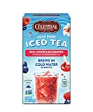 Celestial Seasonings Cold Brew Iced Tea, Red, White & Blueberry, Caffeine Free, 18 Tea Bags (Pack of 6)