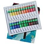 Kit de Pintura Acrilica Manualidades Pigmentos Superior No Tóxico, Set Acrylic Paint Juego De 24 Colores Tubos 12ml para Maletin Clase de Pintura Adecuada para Niños Profecionales (Acrilicas 24x12ml)