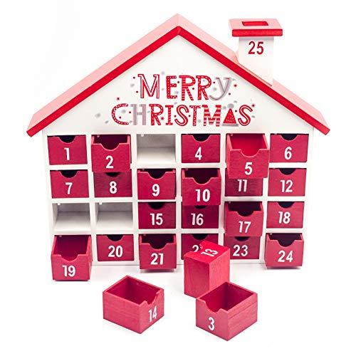 Calendari conto alla rovescia di Natale, calendari dell'avvento di Natale in legno rosso della casa Calendari conto alla rovescia con scatola regalo per decorazioni natalizie al coperto, 36,5x30,5x6,5