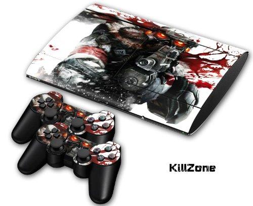 PS3 Super Slim Playstation Haut-, PVC für Konsole + 2 Controller / Pads Aufkleber-Schutz-Abdeckung Art Leather Effect Kilzone