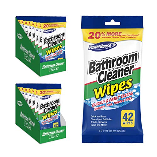 Power House Cleaner Wipes for Bathroom Surfaces Like Showers, Tubs, Sinks and Tiles, All-Purpose Wipes Effectively Remove Grease, Grime and Dirt (16 Packs of 42 Cleaning Wipes Each, Total 672 Wipes)
