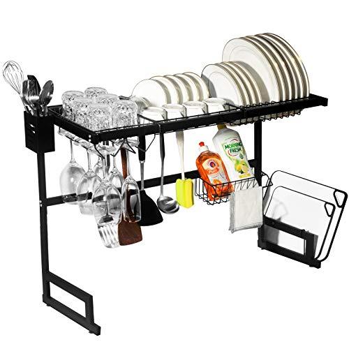 Dish Drying Rack Adjustable 25- 33 2-Tier Large Dish Dryer Rack Over the Sink Dish Organizer with Wine Holder 4 Hooks for Kitchen Organization Home Organizer Storage Shelf Dish Drainer Space Saver
