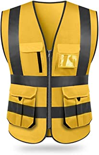 Gecheer High Visibility Reflective Safety Vest Reflective Vest Multi Pockets Workwear Security Working Clothes Day Night M...