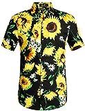 SSLR Men's Cotton Button Down Short Sleeve Hawaiian Shirt
