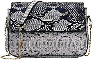 TOOGOO Handbags Versatile Bags for Women Fashion Snakeskin Pattern Shoulder Handbag Casual Shoulder Messenger Bag Gray