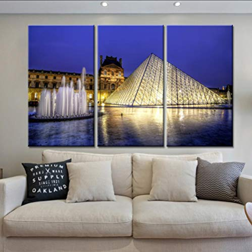 YJN 3 stuks/set canvas kunst canvas schilderij 3 tafels hoge-resolutie nachtmuziek fontein decoratie Home muurkunst druk canvas frameloos M $ 25 40 * 60 * 3