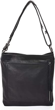 336e38750cacc  RILEY  Designer 100% Italian Black Leather Metallic Crossbody Handbag by  Carla Mancini.