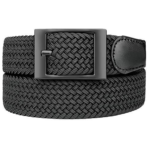 Bluecton Cinturón elástico elástico tejido trenzado cinturón para hombres/mujeres más tamaño negro cuadrado negocio hebilla