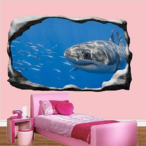 Adesivi Murali adesivo da parete Adesivi murali pesce squalo subacqueo 3d art poster murale camera da letto ragazzo ragazzo 80 * 120CM