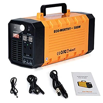 DC HOUSE Portable Power Station 300Watt, 288Wh Solar Generator UPS Rechargeble Emergency Lithium Battery Backup, Pure Sine Wave AC Outlet Power Supply with Flashlight for CPAP Camping Travel Laptop