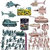 FUN LITTLE TOYS 180 PCs Army Men Action Figures Army Toys of WW 2, Military Figures Set with a Map, Toy Tanks, Planes, Flags, Soldier Figures, Fences & Accessories