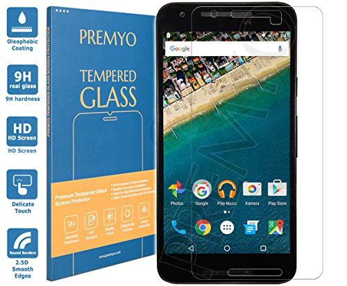 PREMYO Panzerglas Schutzglas Bildschirmschutzfolie Folie kompatibel für Nexus 5X Blasenfrei HD-Klar 9H 2,5D Gegen Kratzer Fingerabdrücke
