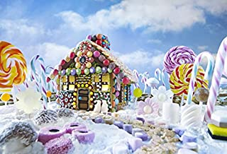 Yeele 10x8ft Winter Christmas Photography Backdrop Candy Canes Gingerbread Candy House Colorful Landscape Dessert Photo Background Baby Girls Boy Portrait Booth Shooting Studio Props Wallpaper