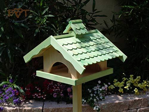 Vogelhaus, groß, BEL-X-VONI5-LOTUS-LEFA-moos002 Großes wetterfestes PREMIUM Vogelhaus mit wasserabweisender LOTUS-BESCHICHTUNG VOGELFUTTERHAUS + Nistkasten 100% KOMBI MIT NISTHILFE für Vögel WETTERFEST, QUALITÄTS-SCHREINERARBEIT-aus 100% Vollholz, Holz Futterhaus für Vögel, MIT FUTTERSCHACHT Futtervorrat, Vogelfutter-Station Farbe grün moosgrün lindgrün natur/grün, MIT TIEFEM WETTERSCHUTZ-DACH für trockenes Futter