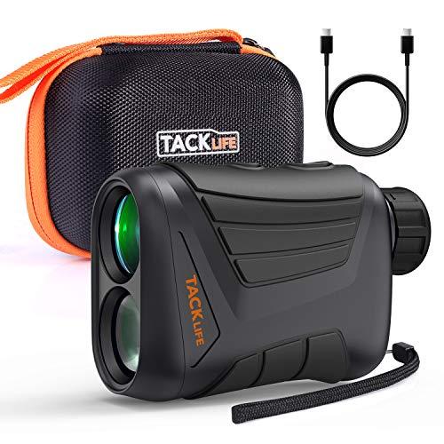 TACKLIFE Entfernungsmesser Jagd/Golf, 800m,900 Yards, 7X Vergrößerung, 3,7 V Lithium-Akku, Geschwindigkeitsmessung 5~300km/h, Rangefinder, Outdoor Distanzmesser mit Neigung, IP54 Wasserdicht-MLR01
