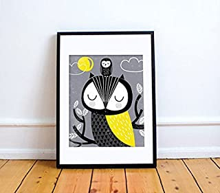 MAMA and BABY OWLY Print // Owl Children's Wall Art // Owl Illustration // Owl Nursery // Woodland Baby Nursery Decor