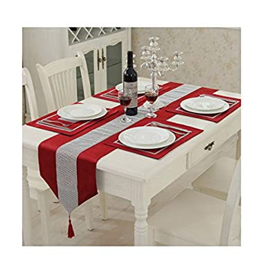 Hangnuo Set of 4 Wedding Elegant Sequined Rhinestone Contrated Classic Placemat Table Mats and 1 Runner, Red