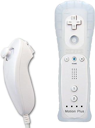 EMEBAY - 2 en 1 Motion Plus Mando y Nunchunk para Nintendo Wii/Wii u + Funda de Silicona - Blanco