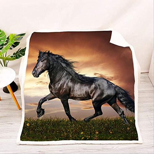 ACTMSY Fleecedecke Kinder Erwachsene Galoppierendes Pferd 3D Kuscheldecke 150x200 cm Flanell Mikrofaser Wohndecke Decke Couchdecke Sofaüberwurf Bettüberwurf Flauschige Weiche& Warme