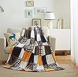Tache Fall Orange Farmhouse Super Soft Micro Fleece Plaid Patchwork Plush Lightweight Dual-Sided Decorative Couch, Sofa, Travel, Lap, Bed Throw Blanket, 50x60