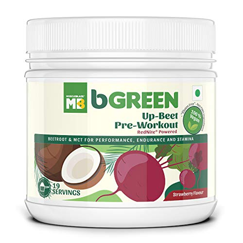 bGREEN Up-Beet Pre-Workout by Muscleblaze 19 servings 0.55 lb, Beetroot & MCT Performance Blend With Clinically Proven With RedNite For Endurance & Stamina
