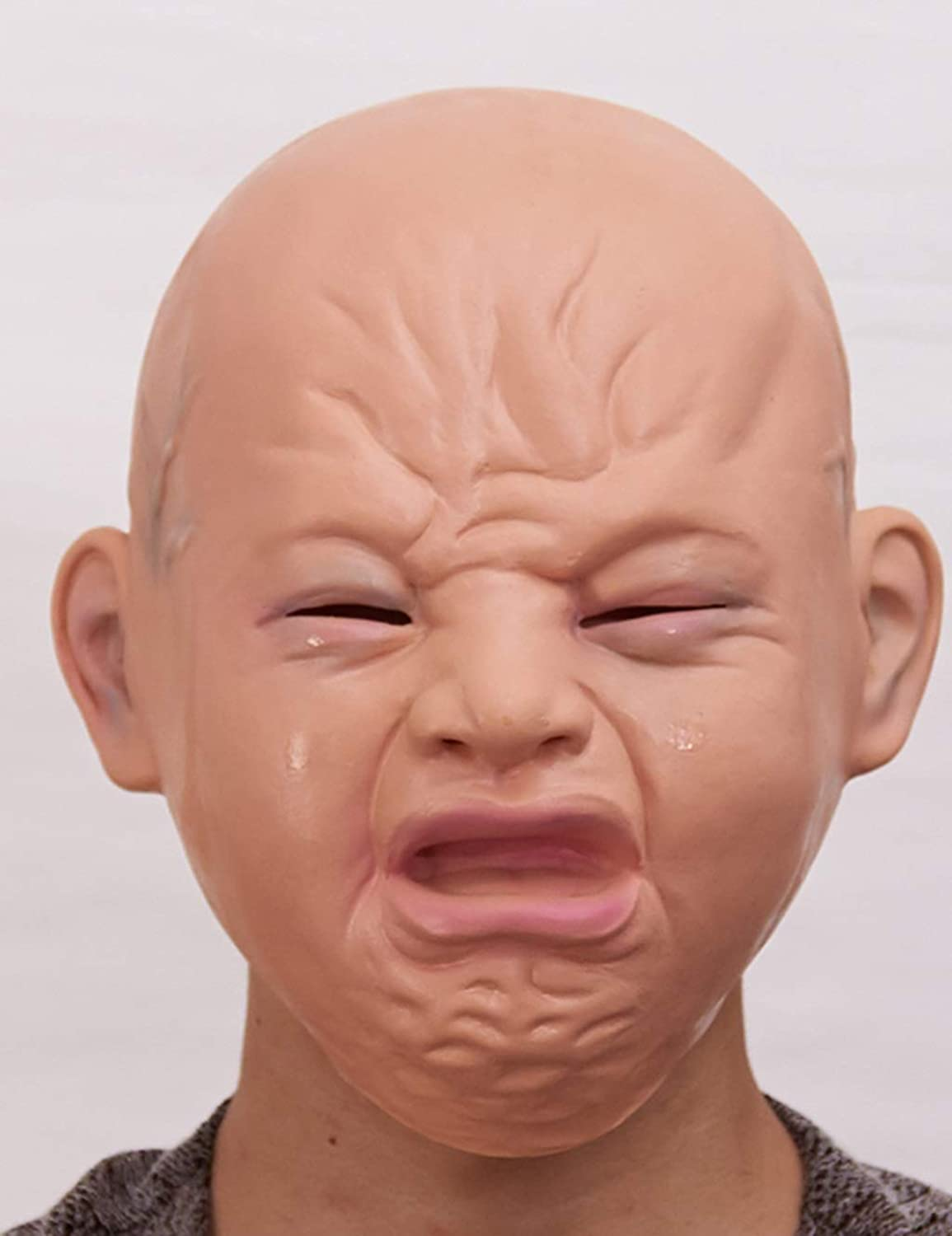 Latex Baby Mask Disgusting Smile Crying Baby Mask Full Head Halloween Masks Latex Horror For Carnival Accessories Carnaval Mask