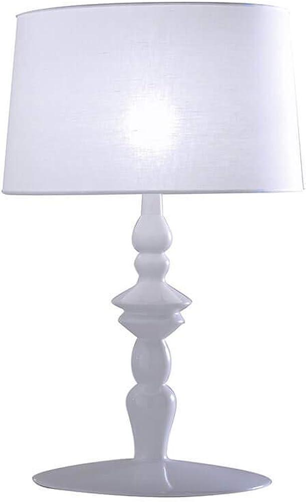 Karman alì e babà, lampada da tavolo,in ceramica e lino bianco C1016BS