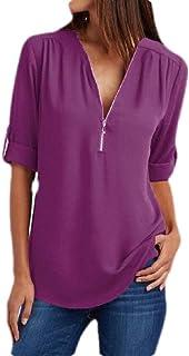 Yeirui Women's Zip Up Tops Chiffon Plus Size Long Sleeve V Neck Shirts Blouse