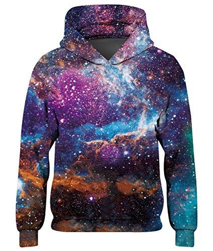 Spreadhoodie Kinder 3D Galaxy Hoodie Unisex Mädchen Hoodies Coole Bunt Teenager Pullover Herbst Winter Jungs Sweatjacke Animal Grafik Sweatshirt 11-14 Jahre