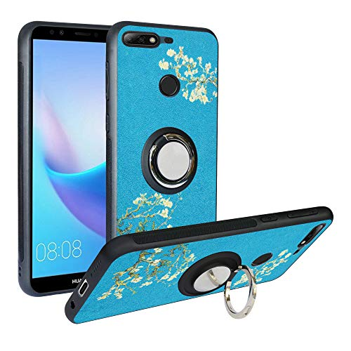Alapmk Compatible with Huawei Y7 2018 /Honor 7C /Enjoy 8 Phone Case Pattern Design Soft TPU Hard PC Protective Durable Case with Kickstand 360°Adjustable Ring Grip Stand Work,Flower