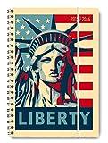 Collegetimer Liberty 2015/2016 - Schülerkalender A5 - Weekly - Ringbindung / Ringbuch - 224 Seiten - USA - Stars and Stripes - Freiheitsstatue