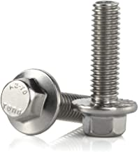 M6-1.0 x 20mm Flanged Hex Head Bolts Flange Hexagon Screws, Stainless Steel 18-8 (304), Plain Finish, 25 PCS