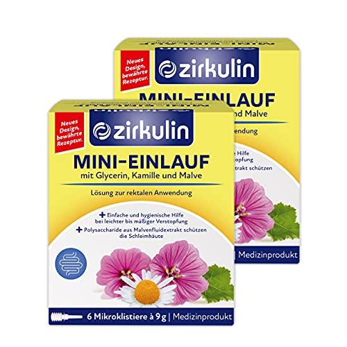 Zirkulin Mini-Einlauf, Einlauf bei leichter bis mäßiger Verstopfung, mit Glycerin, Kamille und Malve, stimuliert die Darmentleerung, 2 x 6 Mikroklistiere à 9g