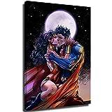 anzonto - Decorazione da parete per bagno, motivo: Wonder Woman che bacia sotto la luna, 30,5 x 45,7 cm
