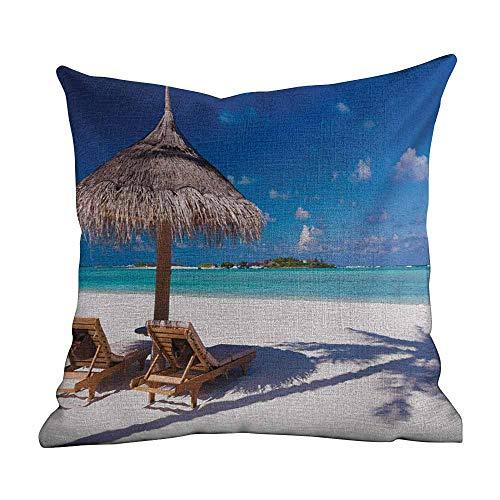 Fashion Throw Pillowcase Landscape,Island Caribbean Honeymoon Themed Beach Seashore Ocean Print,White Pale Brown and Turquoise,Personalized Cushion Cover Pillowcase Square Pillow Cover 18'x18'inch