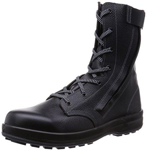 [シモン] 安全靴 長編上 JIS規格 耐滑 快適 軽快 紐 チャック付 WS33C付 黒 24.0 cm