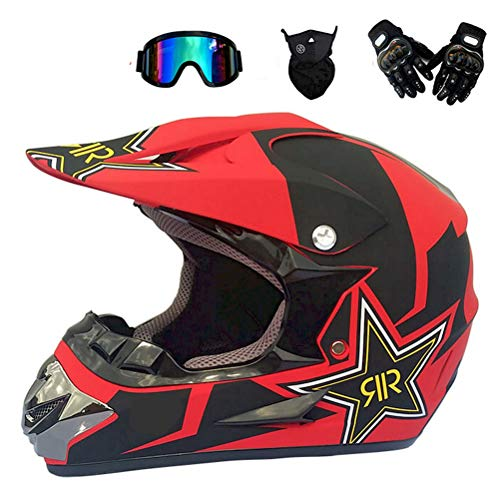 Anderseb Motocross Helm Herren MotorradHelm Sets mit Brille/Maske/Handschuhe, Cross-Helm Motorcycle Off-Road DH Sport Enduro-Helm ATV-Helm für Männer Damen,S53`55CM