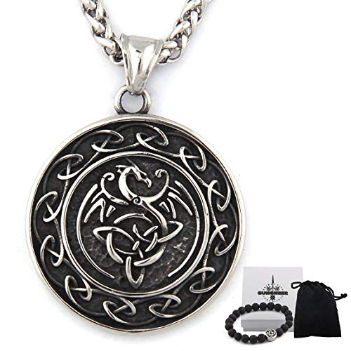 GUNGNEER Stainless Steel Triquetra Celtic Knot Dragon Pendant Necklace Keel Chain Power Protection Irish Jewelry (20)