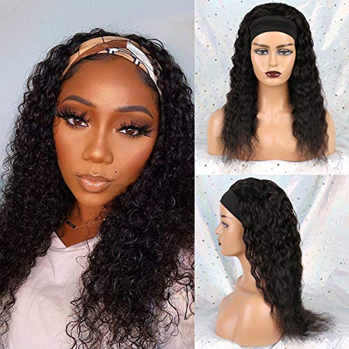 Huarisi Headband Wig Water Wave Wig Human Hair 150% Density Glueless Water Curls None Lace Front Wig Natural Colour Wig Machine Made 18 Inches for Black Women Daily Wear