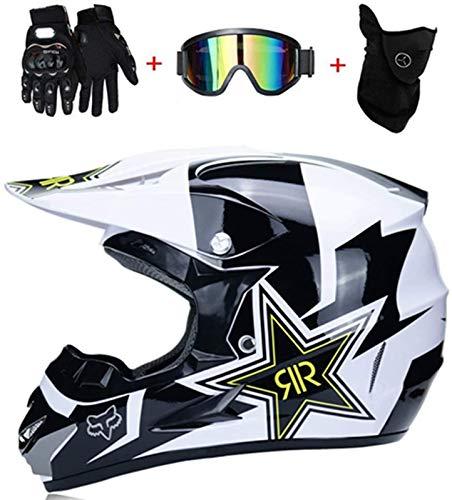 D.O.T - Casco de moto de motocross, máscara cortavientos, guantes y gafas de protección, estándar para niños, quad, bicicleta, ATV, Go Kart, Rock Star (XXL)