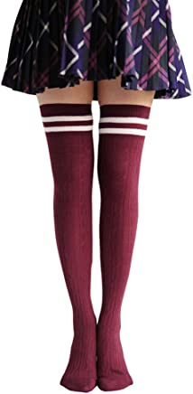UZZO Trade;Women Lady Girl Fashion Winter Warmer Cotton Thigh High Socks,Over Knee/Thigh-High Socks Stockings, Great with 1Free Keyring