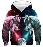 Fanient Jungen Mädchen Sweatshirts Jacke Wolf Graphic Hoodies Hoody ohne Fleece