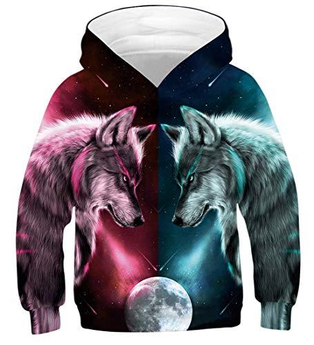 Fanient Teens Langarm Wolf Hoodie Sweatshirt Pullover Hemd Hoodies 6-7 T