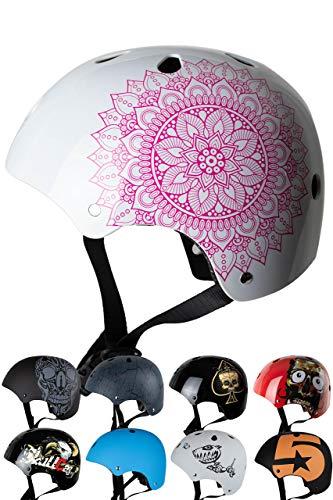 Skullcap® BMX Helm - Skaterhelm - Fahrradhelm - Herren Damen Jungs & Kinderhelm, weiß-rosa, Gr. S (53 – 55 cm), Mandala