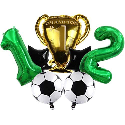 DIWULI, großes Fußball Champion Luftballon Set, XL Zahl 12 Zahlen-Ballon grün, Fussball Folien-Ballon Ball Stern, Pokal gold, 12. Kinder-Geburtstag Junge, Motto-Party, Dekoration, Folien-Luftballon