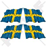SCHWEDEN Schwedisch Wehende Flagge, Fahne Sverige 50mm Auto & Motorrad Aufkleber, x4 Vinyl Stickers (Links - Rechts)