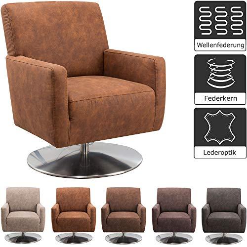 CAVADORE Drehsessel Barney / Drehbarer Sessel in Lederoptik mit Armlehnen und Federkern / 68 x 84 x 71 / Mikrofaser, cognac