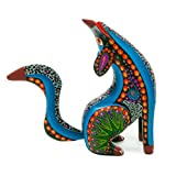 Black Howling Coyote Handcrafted Oaxacan Alebrije Wood Carving Mexican Folk Art Sculpture Painting