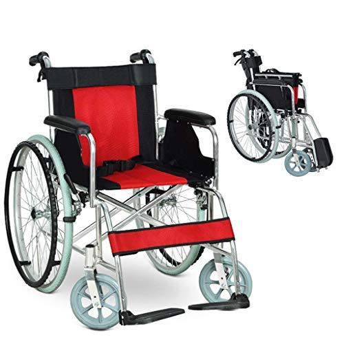 AOLI Aluminiumlegierung Rollstuhl, klappbaren tragbare Multi-Purpose Tragbarer Rollstuhl, ältere Behinderte Trolley, Geeignet für Menschen mit Behinderungen, mit Eigenantrieb Rollstuhl, Schwarz,Schwa