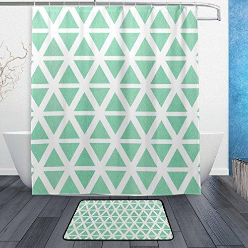 ALAZA Aquarell Grün Dreieck-& Streifen-Duschvorhang 60 x 72 Zoll mit Badematte Teppich und Haken, schimmelresistent & wasserdicht Polyester Dekoration Badezimmer-Vorhang Set
